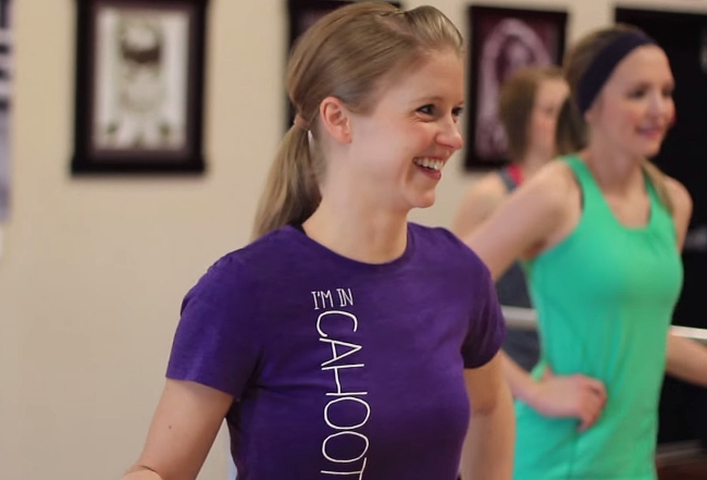Megan Murff participating in a class at Cahoots Fitness.
