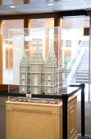 Jungheim's famous Lego Salt Lake Temple on display in the Harold B. Lee Library Special Collections. Photo/Maude Lee