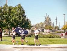 "BYU ROTC cadets ""Rep the Y"" during the game-ball run."