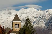 0811-01 GCS November.0811-01 GCS 001..Hinckley Tower (GBHB) and Timp Mountain, Talmage Building (TMCB), and JFSB .  General Campus Scenics (GCS) around campus...November 3, 2008..Photo by: Mark Philbrick/BYU..Copyright BYU PHOTO 2008.All Rights Reserved.801-422-7322.photo@byu.edu.
